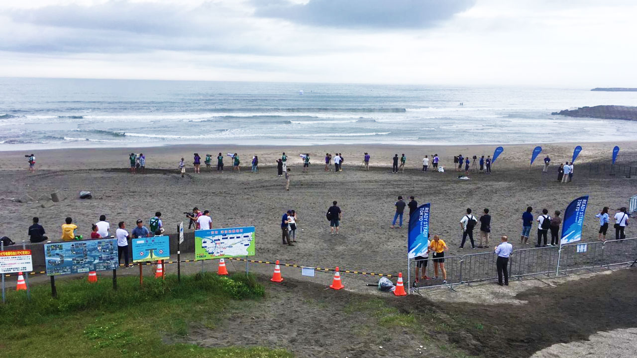 Surfers test waves at Tsurigasaki